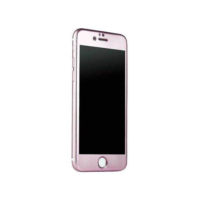 Защитное стекло для Apple iPhone 6/6S - iBacks Full прозрачный + розовый
