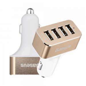Автомобильное зарядное устройство Baseus Smart voyage 4 USB, 9.6 Amp, белое + золотистое