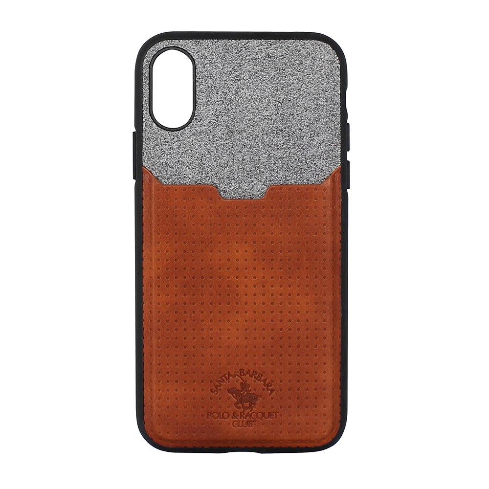 Кожаный чехол с отделом для карточек Polo Tasche коричневый для iPhone X
