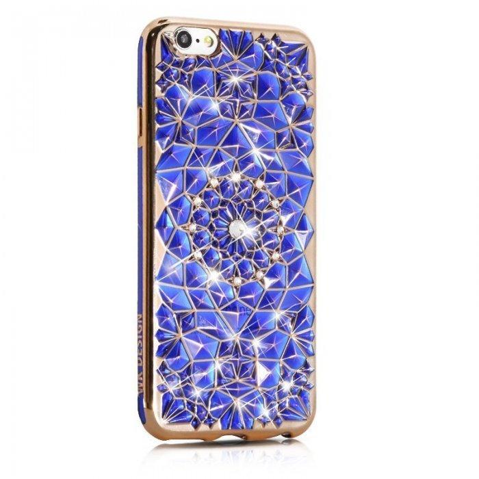 3D чехол со стразами WK Sunflower синий для iPhone 6/6S