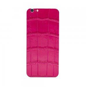 Наклейка для Apple iPhone 6S/6 - кожа крокодила, розовая