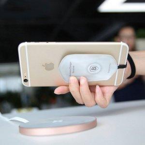 Адаптер для беспроводной зарядки Apple iPhone 5/5S/5C/SE/6/6S/6 Plus/6S Plus - Baseus QI белый