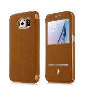 Чехол (книжка) Baseus Terse коричневый для Samsung Galaxy S6 Edge