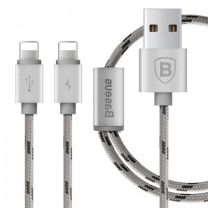 Кабель Lightning для Apple iPhone/iPad/iPod - Baseus Portman 2-в-1, 1.2м, серебристый