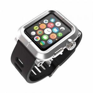 Чехол-ремешок для Apple Watch - LunaTik EPIK 2 серебристый поликарбонат + черный силиконовый ремешок