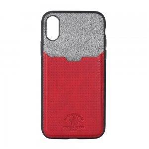 Кожаный чехол с отделом для карточек Polo Tasche красный для iPhone X