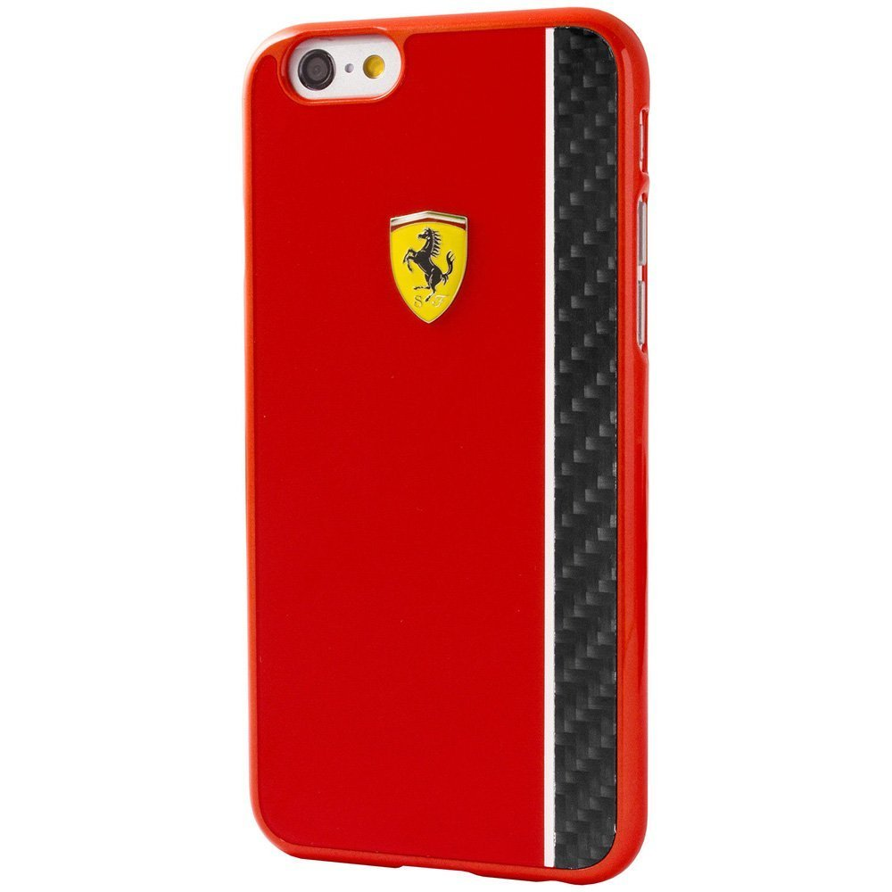 Чехол-накладка для Apple iPhone 6/6S - Ferrari Scuderia Carbon Fiber Plate красный