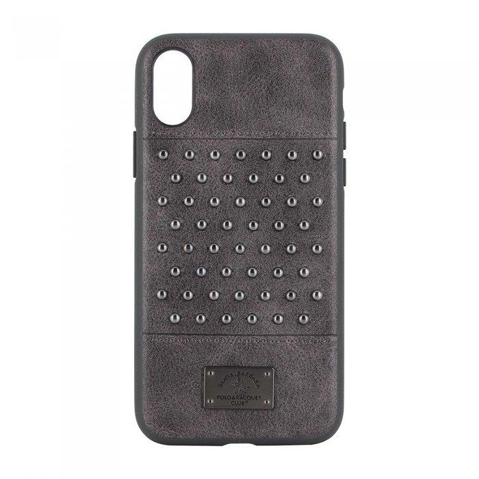 Кожаный чехол Polo Staccato серый для iPhone X/XS