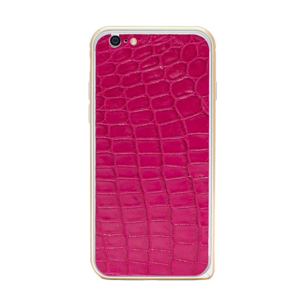 Наклейка для Apple iPhone 6/6S - кожа крокодила, розовая