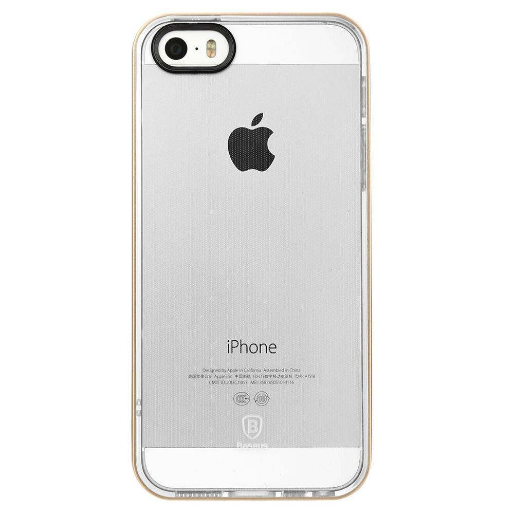 Силиконовый чехол Baseus Soft Feather прозрачный + розовый для iPhone 5/5S/SE