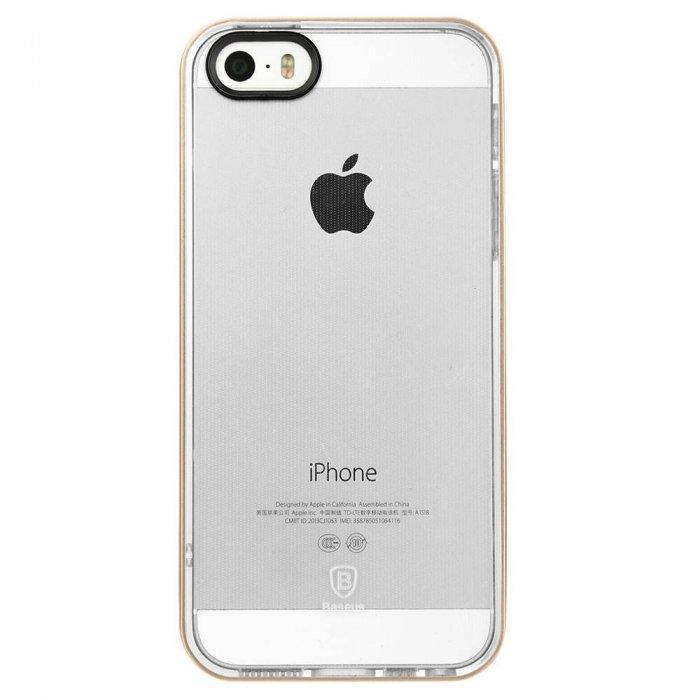 Силиконовый чехол Baseus Soft Feather прозрачный + золотой для iPhone 5/5S/SE