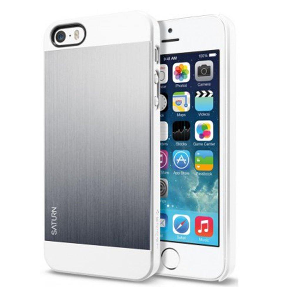 Защитный чехол SGP Saturn серебристый + белый для iPhone 5/5S/SE