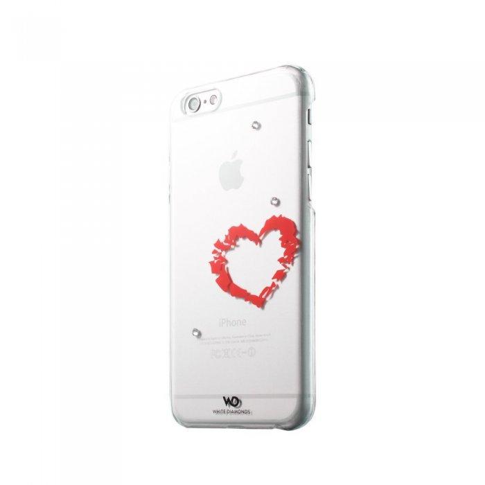 Чехол с рисунком White Diamonds Lipstick Heart прозрачный для iPhone 6/6S