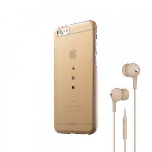 Набор чехол-накладка + гарнитура для Apple iPhone 6 - White Diamonds Bundle золотистый