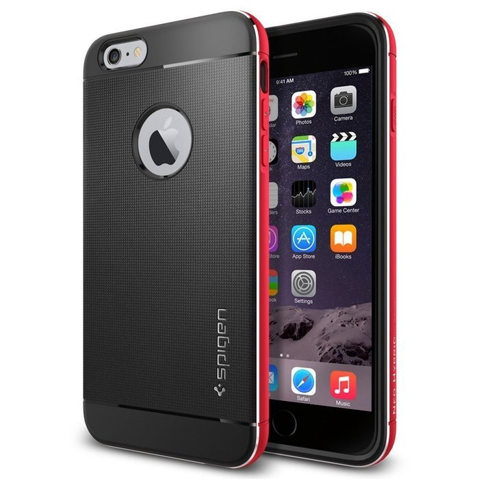 Чехол-накладка для iPhone 6 Plus/6S Plus - Spigen Case Neo Hybrid Metal красный