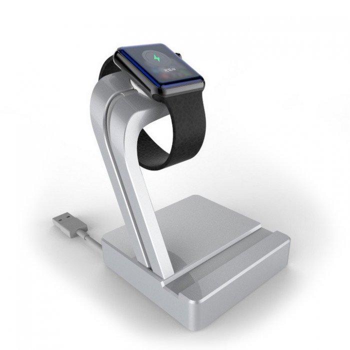 Подставка для Apple Watch, iPhone 5/5S/5S/6/6 Plus - e7 stand AL серебристая