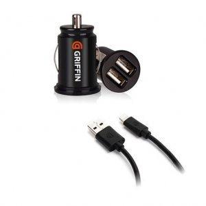 Автомобильное зарядное устройство Lightning - Griffin 2 USB, черное