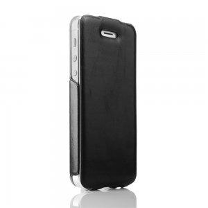 Кожаный флип-чехол New Case Flip черный для iPhone 5/5S/SE