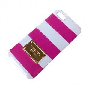 Чехол-накладка для Apple iPhone 5/5S - Michael Kors Design Lines белый + розовый