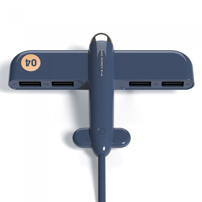 USB хаб 3Life Airplane синий