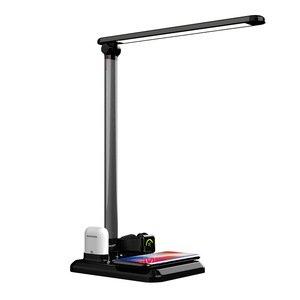 Умная настольная лампа с беспроводной зарядкой для iPhone, Apple Watch, Apple AirPods черная