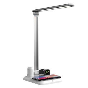 Умная настольная лампа с беспроводной зарядкой для iPhone, Apple Watch, Apple AirPods белая