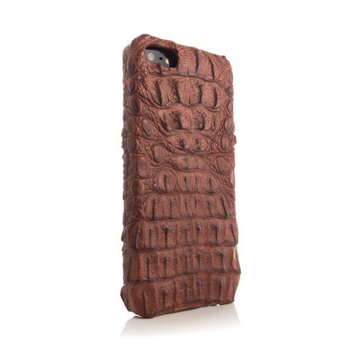 Чехол из натуральной кожи крокодила I-Idea Animal Skins коричневый для iPhone 5/5S/SE