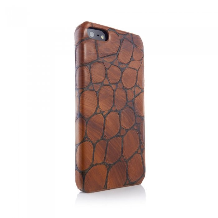 Чехол из натуральной кожи ящерицы I-Idea Animal Skins коричневый для iPhone 5/5S/SE