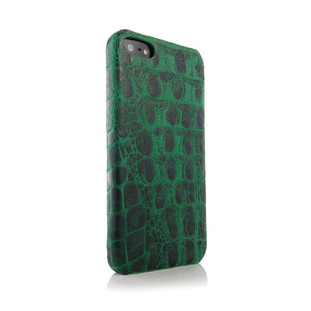 Чехол из натуральной кожи ящерицы I-Idea Animal Skins зеленый для iPhone 5/5S/SE