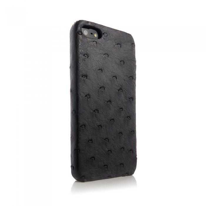 Чехол из натуральной кожи страуса I-Idea Animal Skins черный для iPhone 5/5S/SE