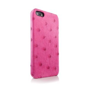 Чехол из натуральной кожи страуса I-Idea Animal Skins розовый для iPhone 5/5S/SE