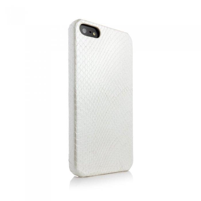 Чехол из натуральной кожи змеи I-Idea Animal Skins белый для iPhone 5/5S/SE