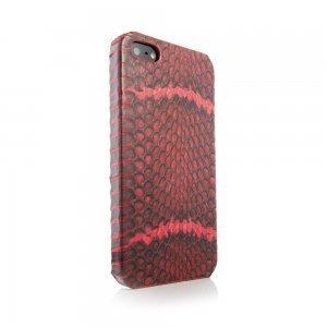 Чехол из натуральной кожи змеи I-Idea Animal Skins красный для iPhone 5/5S/SE