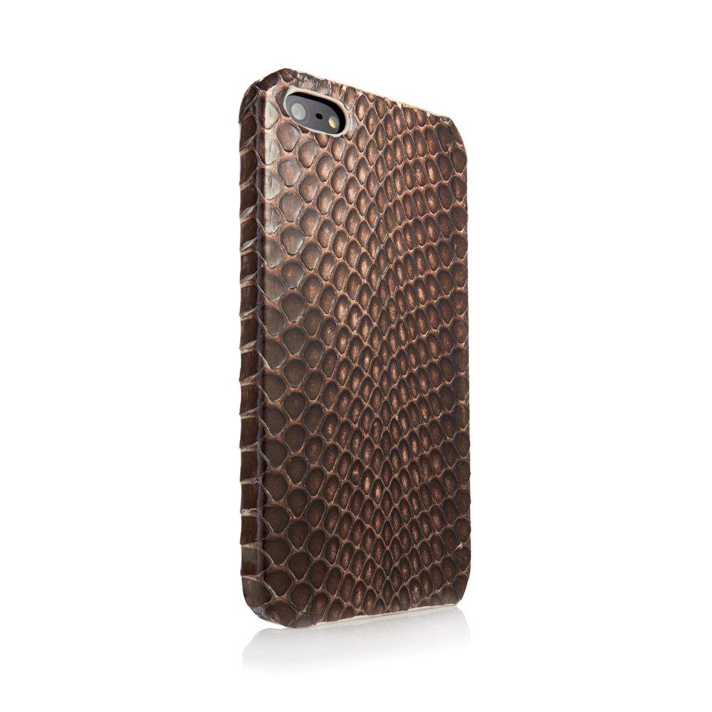 Чехол из натуральной кожи змеи I-Idea Animal Skins коричневый для iPhone 5/5S/SE