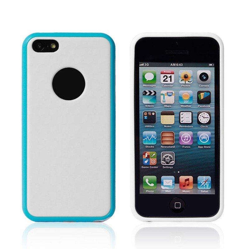 Силиконовый чехол NewCase Cube голубой + белый для iPhone 5C