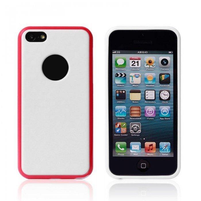 Силиконовый чехол New Case Cube красный + белый для iPhone 5C