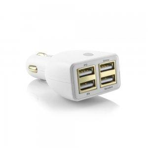 Автомобильное зарядное устройство универсальное, 4 USB, белое