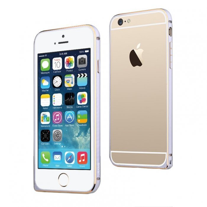 Металлический бампер USAMS Arco белый + золотой для iPhone 6/6S