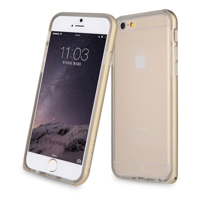 Силиконовый чехол Baseus Fusion золотой для iPhone 6/6S