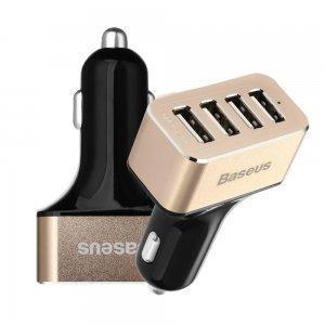 Автомобильное зарядное устройство Baseus Smart voyage 4 USB, 9.6 Amp, черное + золотистое
