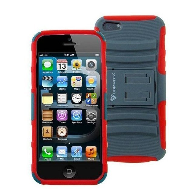 Чехол спорт и экстрим для Apple iPhone 5/5S - Armor-X Action Shell Series красный + серый