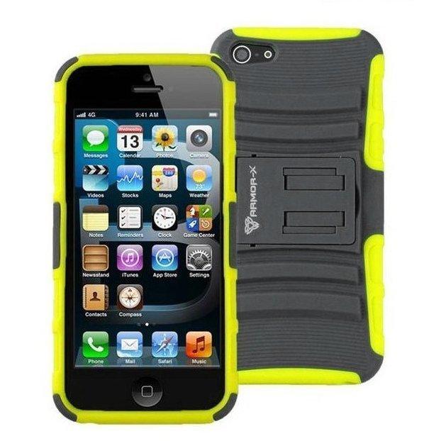 Чехол спорт и экстрим для Apple iPhone 5/5S - Armor-X Action Shell Series желтый + серый