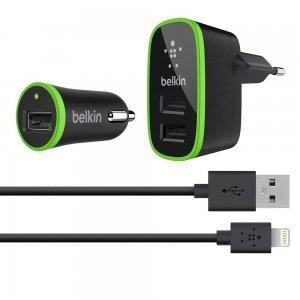 Комплект зарядных устройств Belkin USB Micro Charger KIT 220V+12V + кабель LIGHTNING 8 pin, черный
