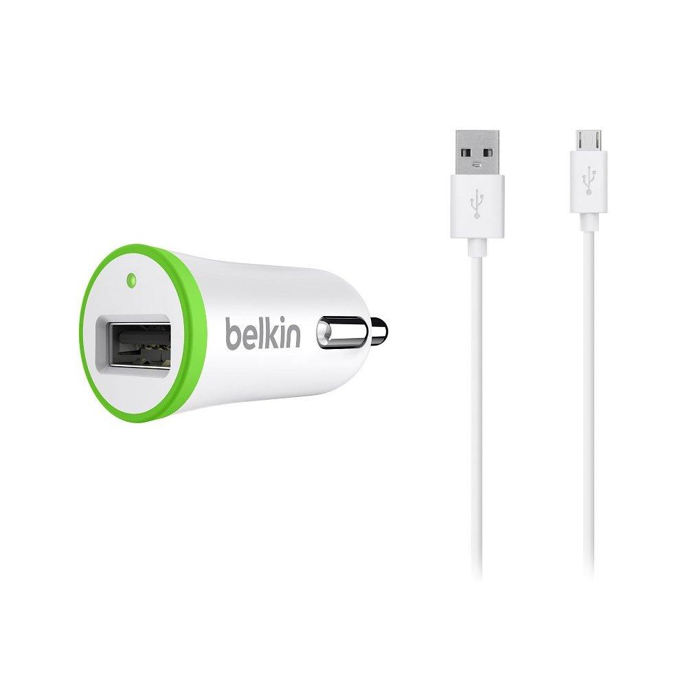 Автомобильное зарядное устройство Belkin USB MicroCharger 12V + кабель LIGHTNING 8 pin, белое