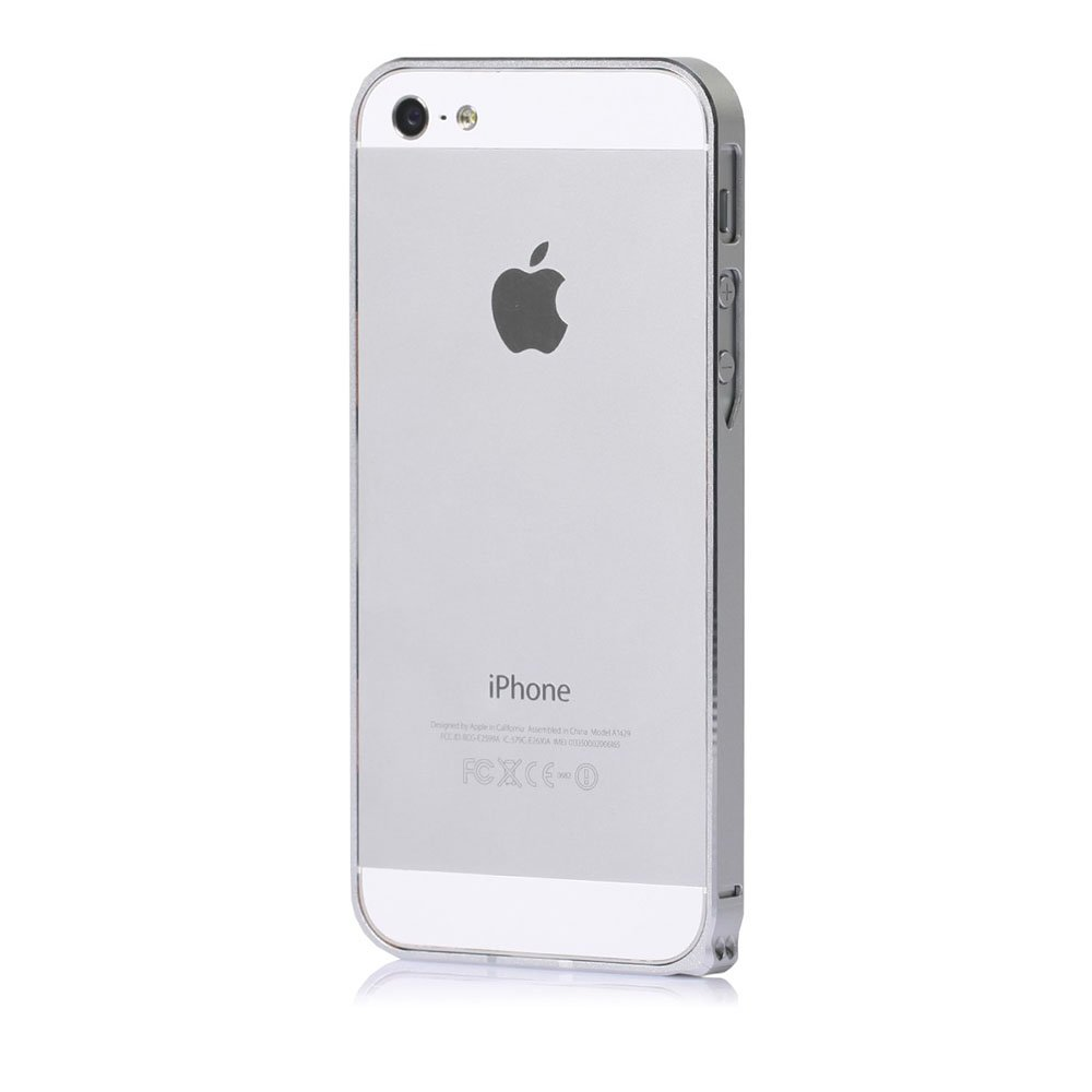 Металлический бампер Cross Metal SP-5 серебристый для iPhone 5/5S/SE