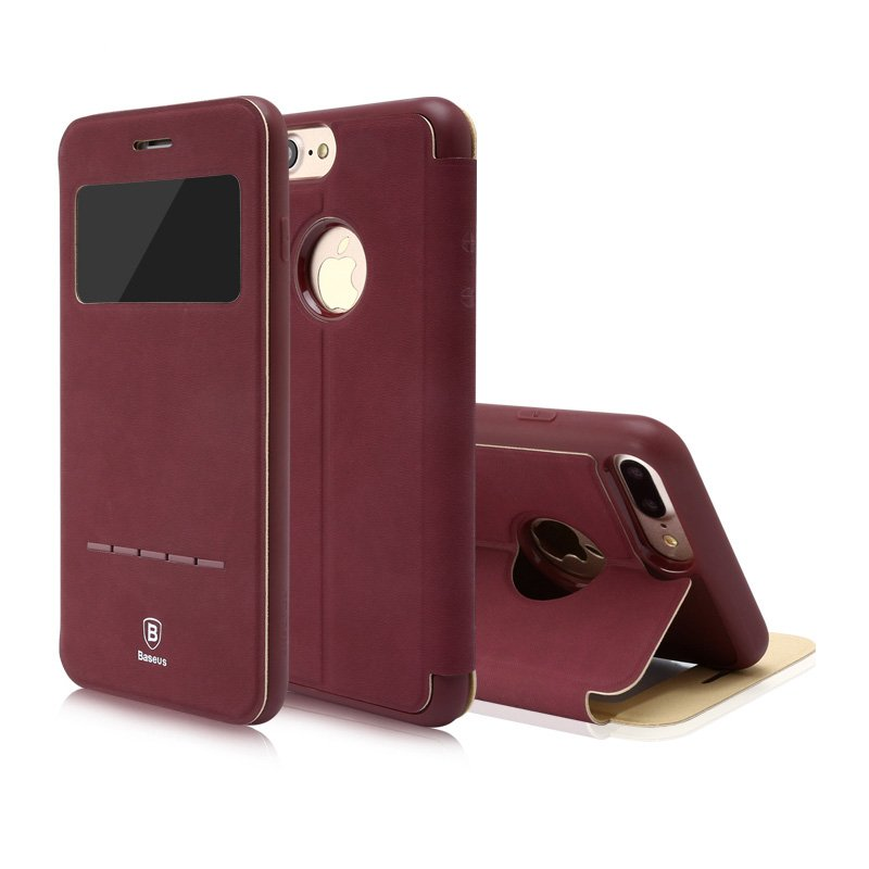 Чехол (книжка) с подставкой Baseus Simple красный для iPhone 8 Plus/7 Plus