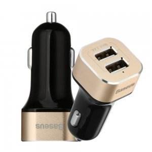 Автомобильное зарядное устройство Baseus Smart voyage 2 USB, 2.4 Amp, золотистый + черный