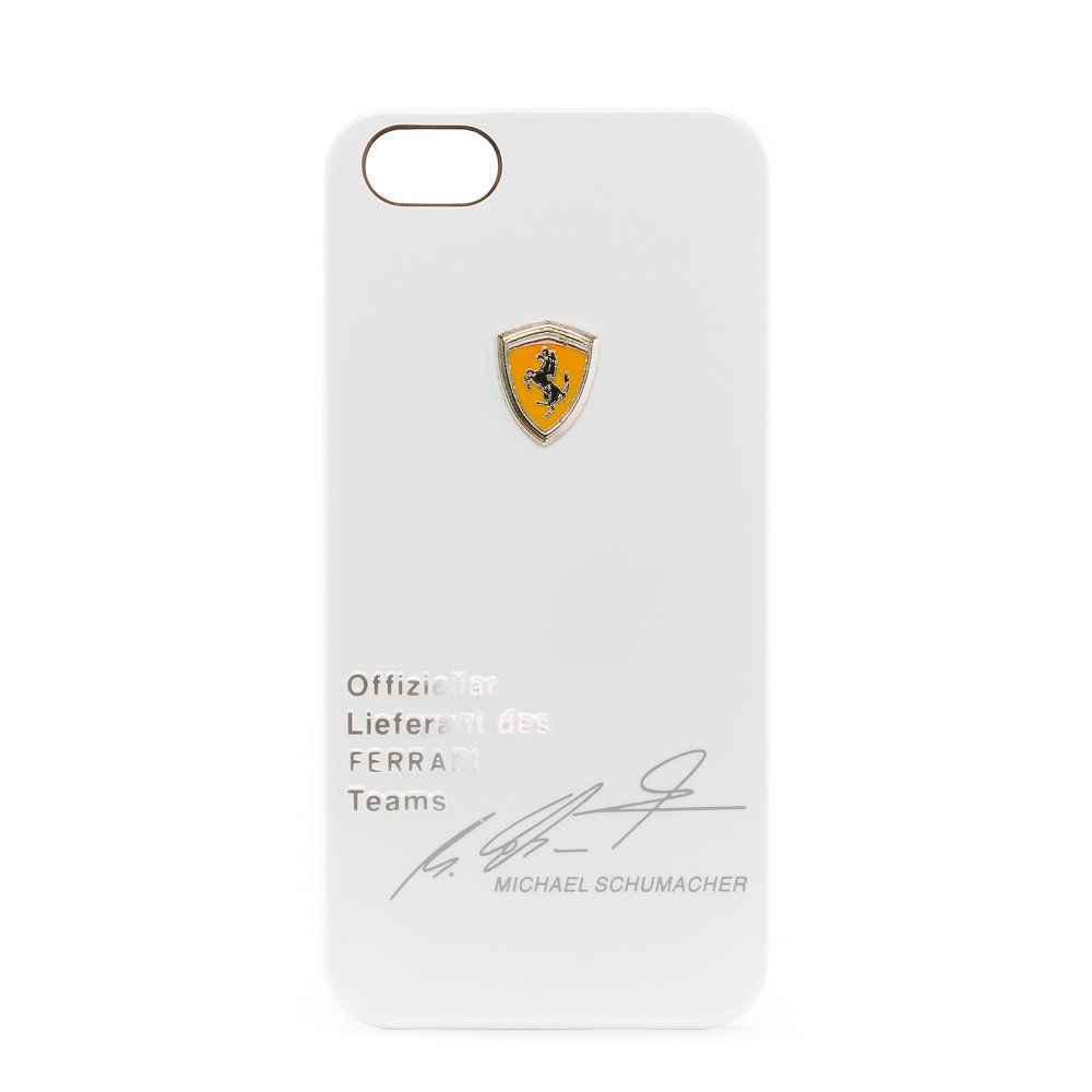 3D чехол Ferrari Design Michael Schumacher белый Apple iPhone 5/5S/SE