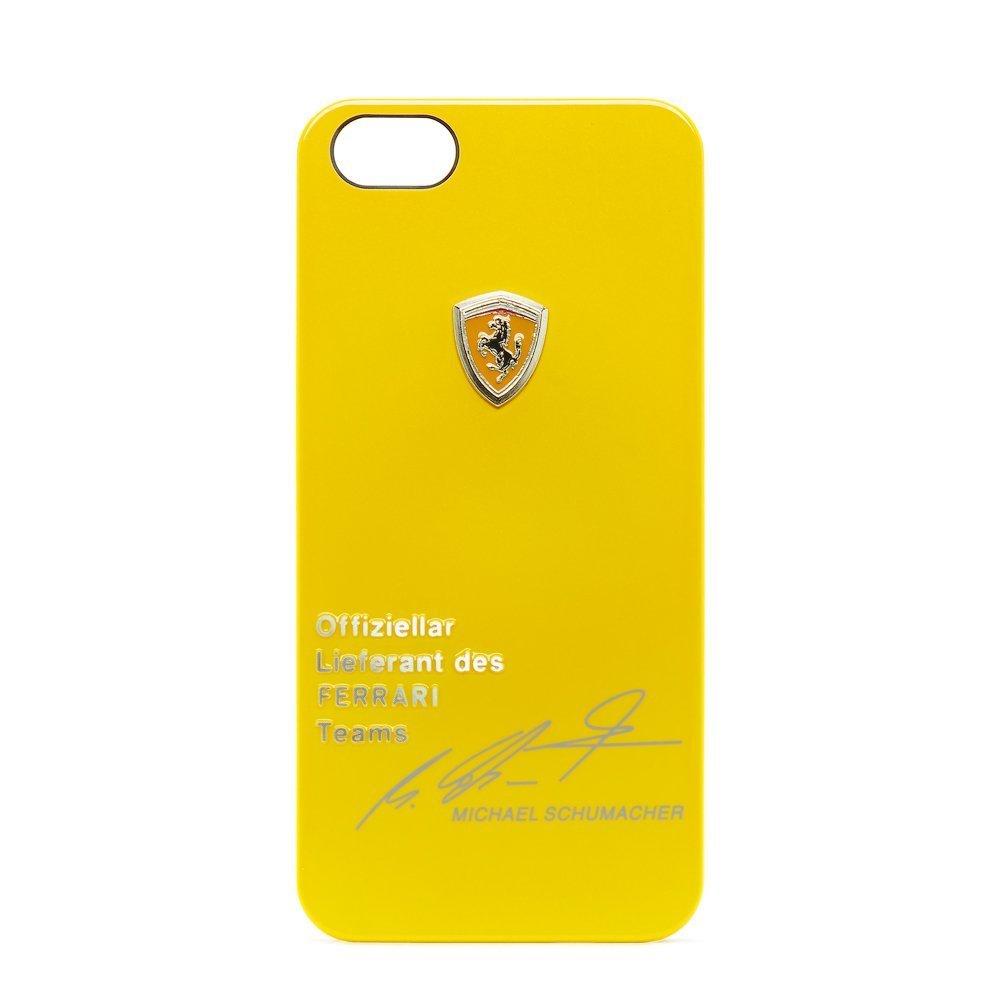 Чехол с рисунком Ferrari Design Michael Schumacher желтый для iPhone 5/5S/SE