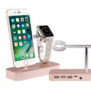 Док-станция Coteetci Base Hub B18 для iPhone с 3 USB, Type-C розовое золото